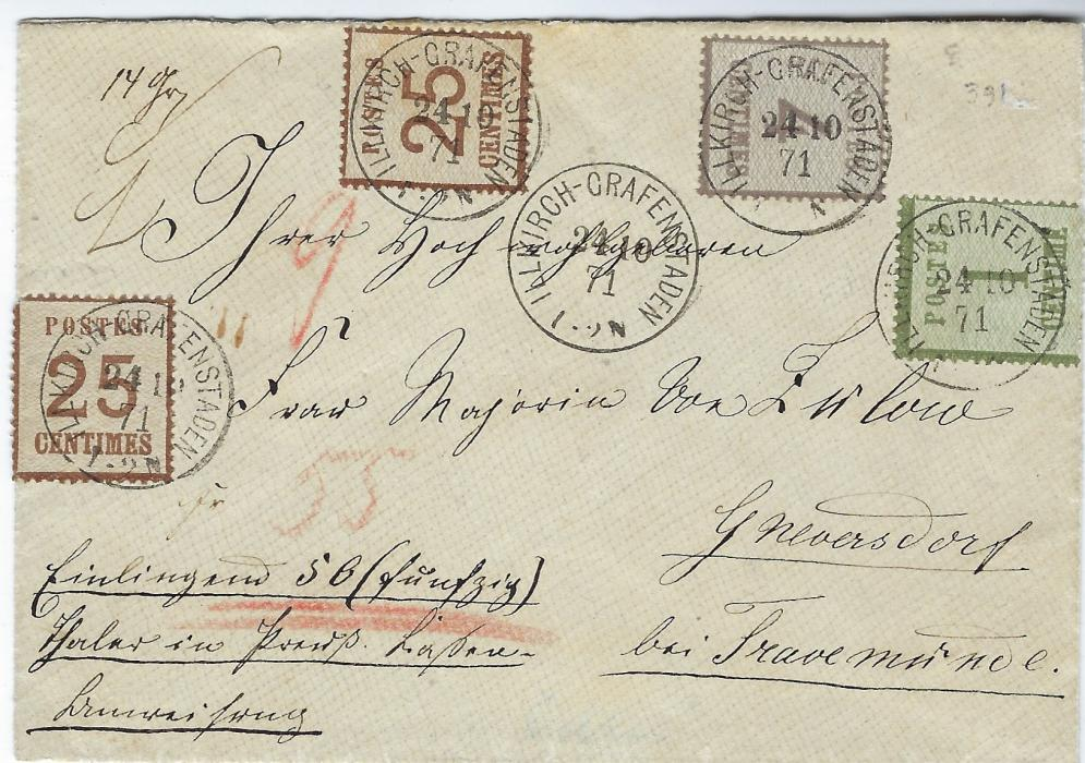 German States (Alsace Lorraine) 1871 (24/10) insured cover franked 1c., 4c. and two 25c. tied Illkirch-Grafenstaden cds, the 25c with network pointing downwards (Mi 7II) and 1c. and 4c. pointing upwards (Mi 1I and 3I); a fine franking, Roumet Certificate.
