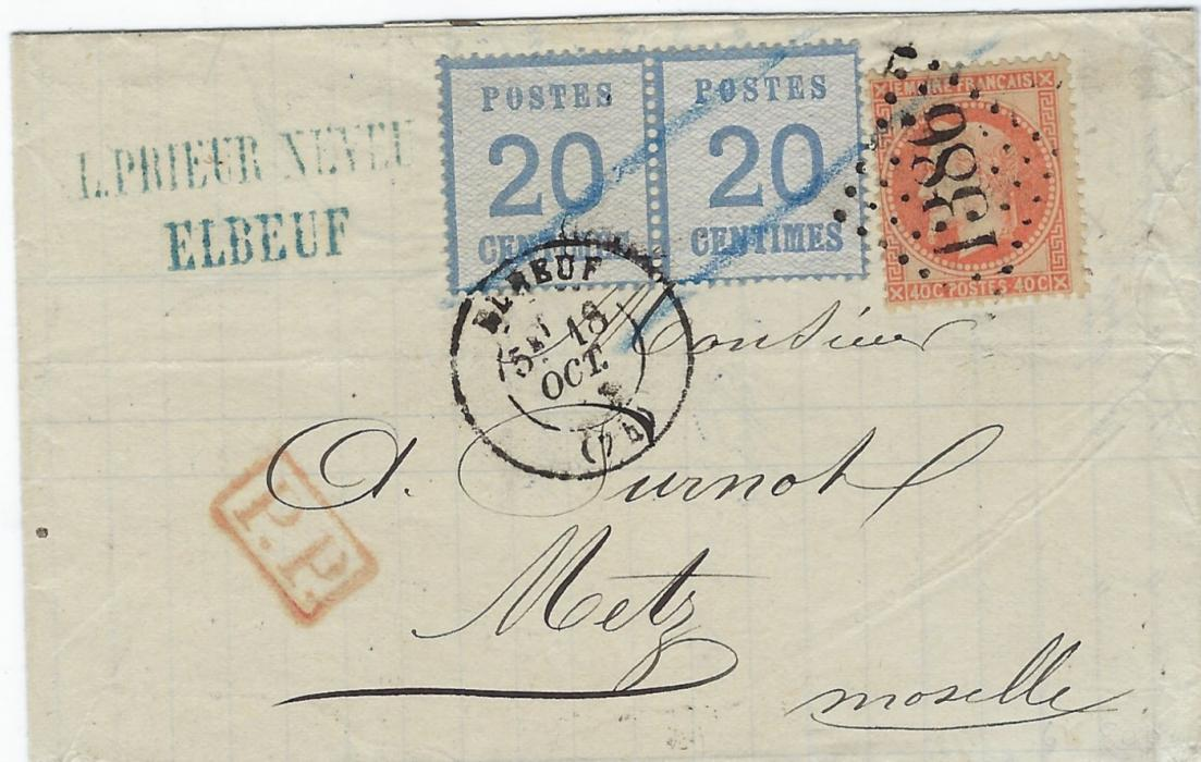 German States (Alsace Lorraine) 1871 (18/Oct) folded invoice to Metz bearing mixed franking pair 20c. with upwards network and France Laureated Napoleon 40c. tied 1386 large numeral with Elbeuf cds in association, framed P.P., the 20c. pair only tied by French cancels and bu two blue crayon lines, next day arrival backstamps.