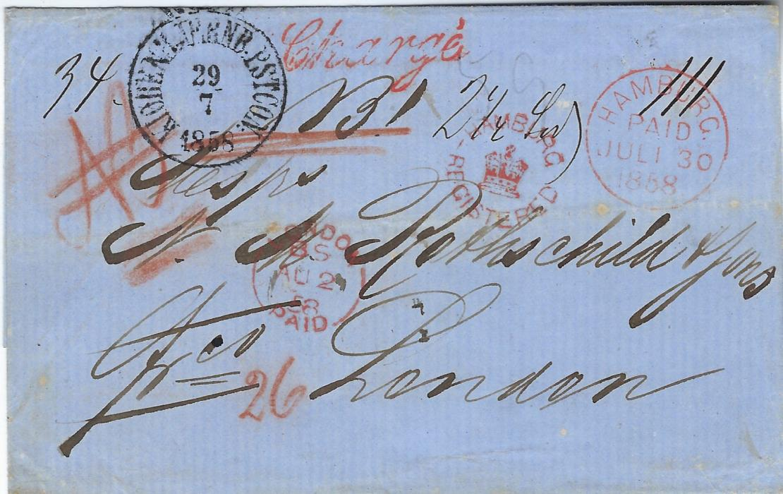 German States (Hamburg) 1858 (29/7) registered stampless outer letter sheet from Copenhagen to London from the Danish Offices, Hamburg Paid cds of German P.O. applied the following day and on arrival a superb strike of the very rare red Hamburg/ (crown)/ Registered handstamp. There was no example in the Martin Willcocks Collection and this is much finer than the example in V Sussex.