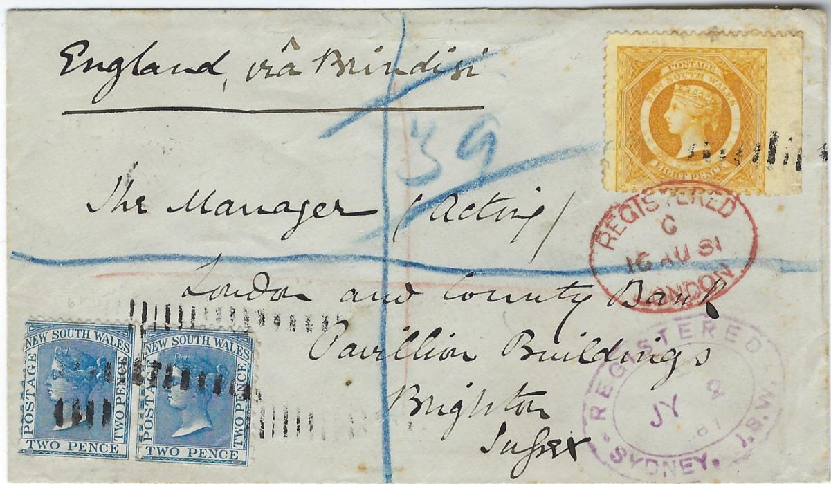 Australia (New South Wales) 1881 (JY 2) registered cover to Brighton, Sussex franked with 1871-1902 8d yellow (imperf between stamp and margin) plus two 2d. D.L.R. to pay the registration fee, cancelled by roller with double-oval Registered Sydney date stamp, London transit above this and arrival on reverse; small part of backflap missing.
