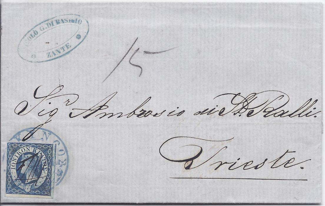 "Ionian Islands 1859 entire from Zante to trieste franked (1d.) blue tied by fine blue Greek language despatch cds and with pen cancellation, manuscript ""15"" rate marking, reverse with red framed arrival date stamp; very fresh condition, stamp with three large to close margins."
