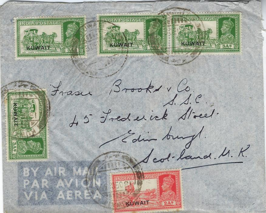 Kuwait 1939 (13 Dec) airmail cover to Edinburgh franked overprinted India 1939 2a. Dak Runner and 3a. (4) Dak horse and carriage tied double ring date stamps, reverse with bilingual Basra cds of following day; good commercial cover.