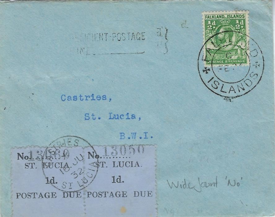 Falkland Islands 1932 (FE 27) underfranked cover to Saint Lucia franked 1929-37 �d. �Whale and Penguins� tied double-ring date stamp, Insufficient Postage two-line handstamp and on arrival pair 1930 1d. Postage Due labels  showing wide, wrong font �No.� (SG D1a) tied Castries cds.