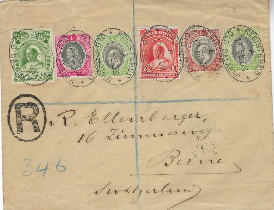 Nigeria (Southern & Niger Coast) 1903 (17 SE) registered cover to Switzerland bearing mixed franking of Niger Coast 1897-98 watermarked ½d. and 1d. together with Southern Nigeria 1901-02 ½d. and 1d. and 1903-04 ½d. and 2d. each tied by oval Registered Old Calabar date stamps. Niger Coast stamps were legitimately used during stamp shortages in Southern Nigeria from 1902 to 1907