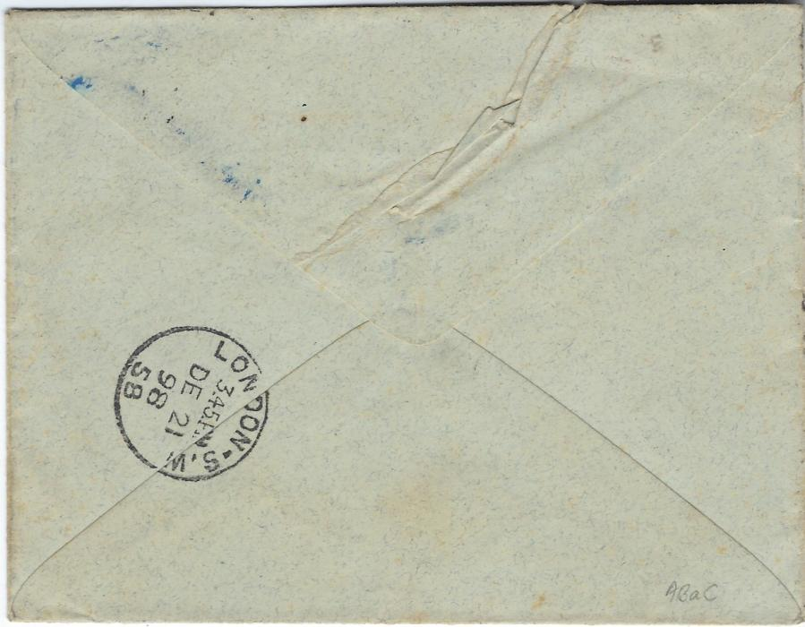 Crete British Post Offices: 1898 (9.12.) cover to London  bearing very fine 1.P.T. Union Jack revenue stamp and International Occupation Governor Monfatsi with manuscript initials, passed to Austrian Post Office with 1pi on 10c tied Candia Oesterreichsche Post cds of 12th, redirected upon arrival with London square circle at top, London S.W. arrival backstamp. Extremely fine examples of the British handstamps, the Union Jack handstamp was in use only from December 1898 to July 1899; a little roughly opened with tear top left.