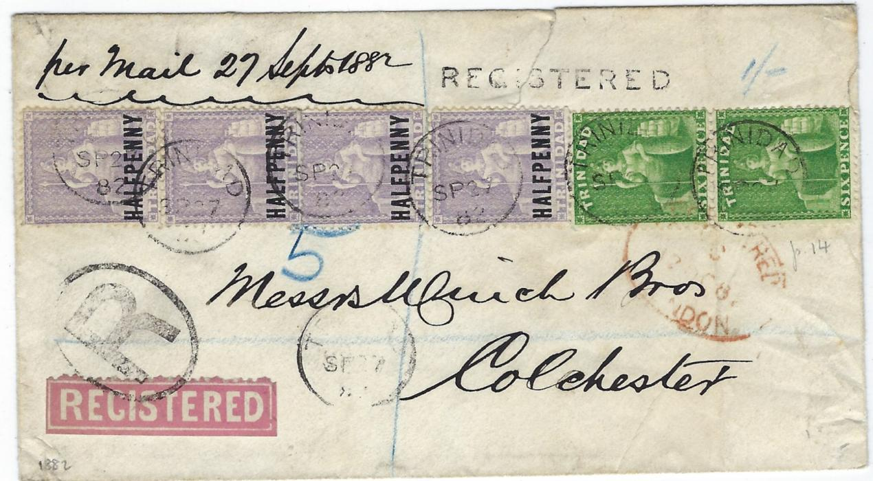 Trinidad 1882 (SP 27) registered cover to Colchester franked 1863-80 perf 14 6d. bright yellow-green vertical pair and 1879-82 HALFPENNY lilac tied six neat cds, another below, oval –framed R handstamp, straight-line  REGISTERED and a very early private registered red label, the pair of 6d tied London transit, repeated despatch cds on reverse, the envelope bearing printed Coat of Arms on backflap.