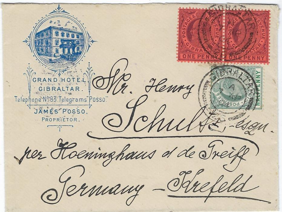 Gibraltar (Hotel) 1904 (7 AP) fine illustrated 'Grand Hotel' envelope to Krefeld, Germany, franked KEVII ½d. and pair 1d. tied by two double-ring cds, reverse with fine clear handstamp of James Posso Proprietor of Hotel. Fine quality.