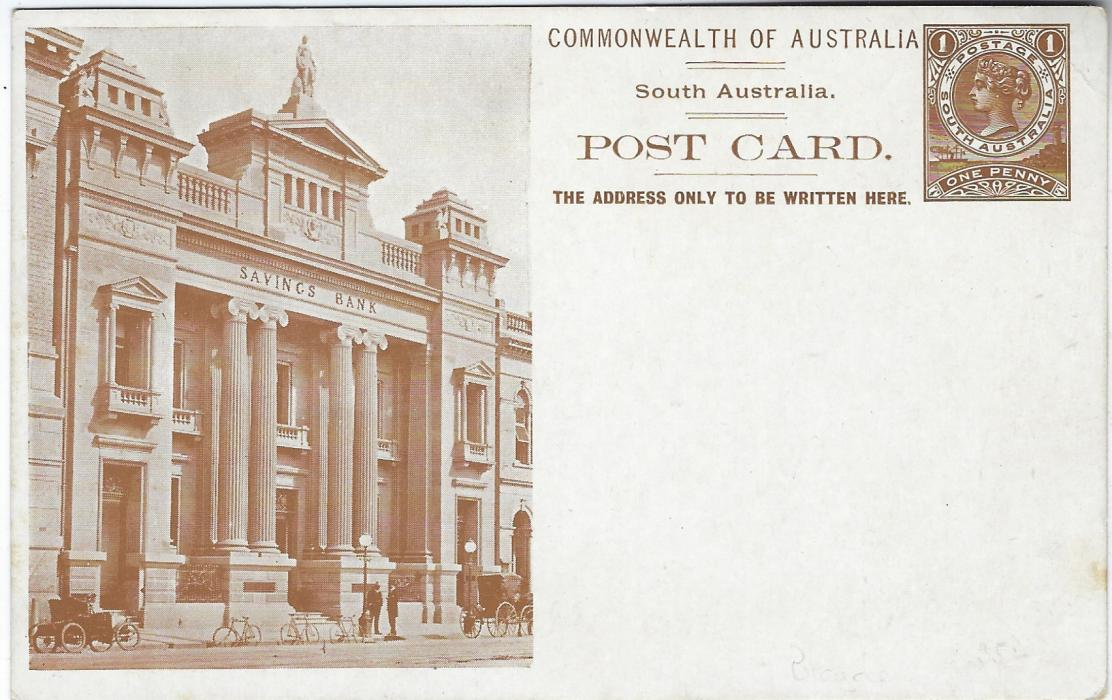 Australia (South – Picture Stationery)  1900s 1d. brown stationery card with illustration of Savings Bank showing clear images of three bicycles; some very slight tones on reverse.