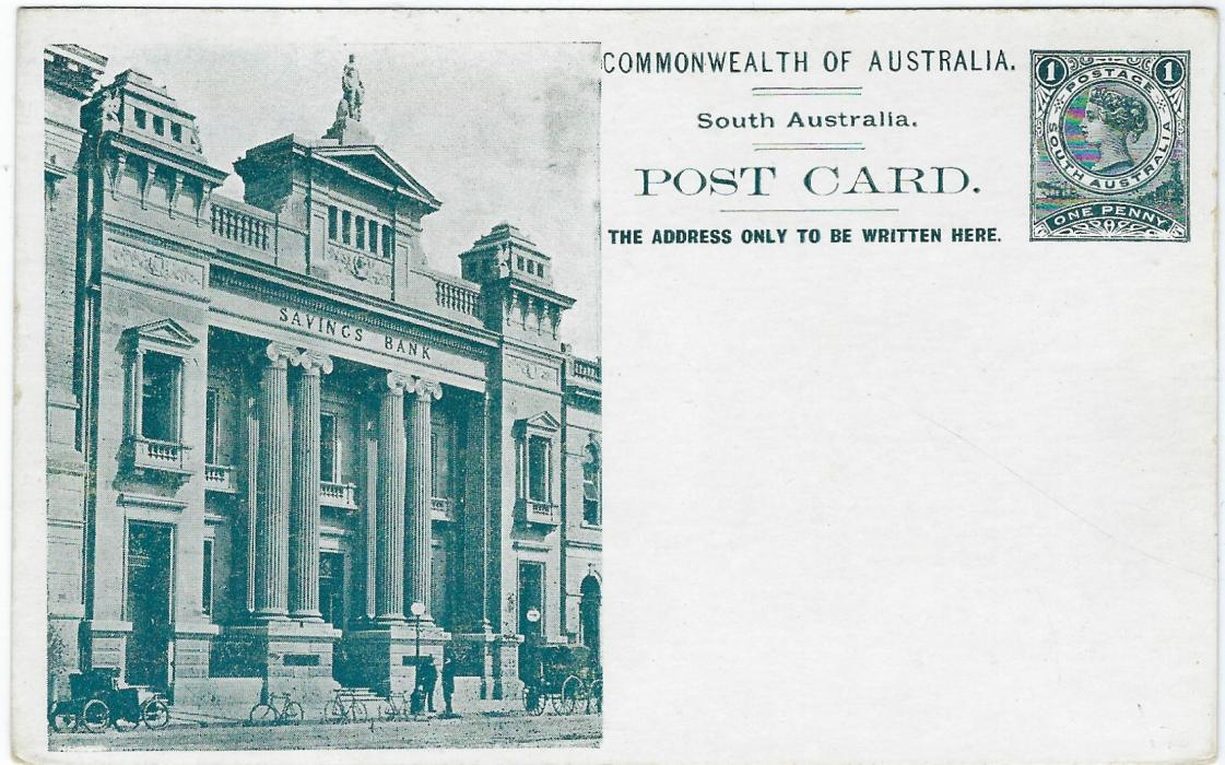 Australia (South – Picture Stationery)  1900s 1d. deep blue-green stationery card with illustration of Savings Bank showing clear images of three bicycles; some very slight ageing on reverse.