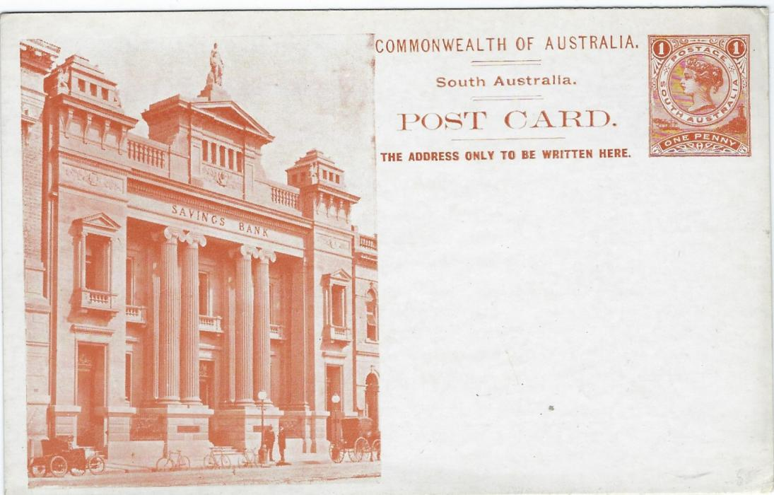 Australia (South – Picture Stationery)  1900s 1d. orange-brown  stationery card with illustration of Savings Bank showing clear images of three bicycles; good condition.