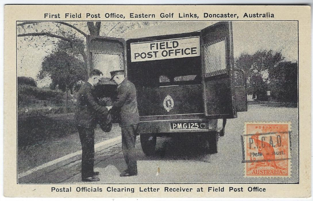 Australia (Golf)  1947 (3 Feb) souvenir postcard for Australia�s first fieldpost office at University of Melbourne, depicting scene of postal officials clearing mail at the FPO. Special handstamps for PICAO�s meeting (Provisional International Civil Aviation Organization), autographed by H.A.Robertson, Postmaster. Good condition.