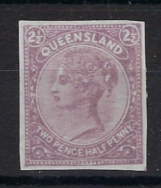 Australia (Queensland) 1890 Fourth Sideface issue Essay for the 2½d. value, imperf and showing the value tablets in top corners, printed in mauve on white watermarked 'Queensland' paper. Rare and attractive.
