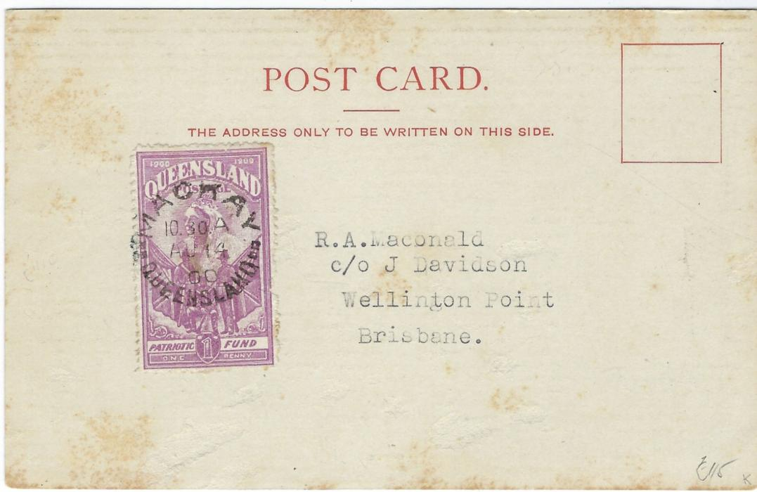 Australia (Queensland) 1900 (AU 14) picture postcard 'Boer War. – Victorian Mounted Rifles' franked on reverse with Patriotic Fund 1d. (6d.) claret tied Mackay date stamp; small fault at base of card, slight abrasions and tones to card.