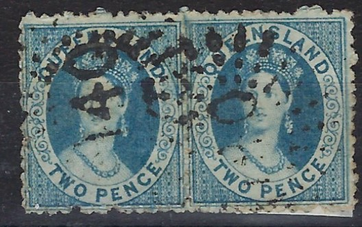 Australia (Queensland) 1864-65 Watermark Small Star, Perf 12 2d. blue pair with two '140' numeral cancel, one of the strikes being very clear. This cancel was used at Cania and Kroombit, opened on 18/6/70 on a part time basis, closed 7/10/72 and moved to Kariboe closing 21/8/74; a rare cancel.