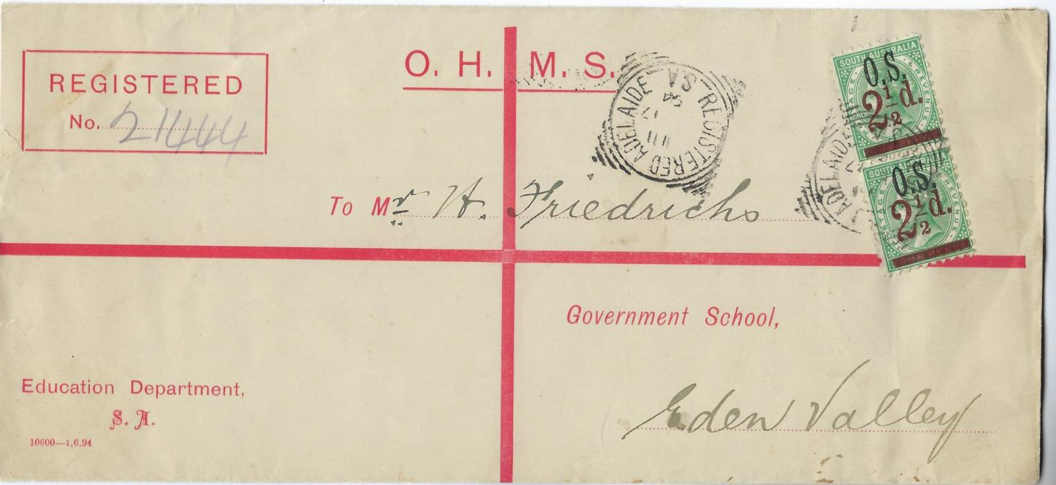Australia (South) 1894 registered formula O.H.M.S. registration envelope of Education Department franked vertical pair 1891-95 2½d. on 4d. tied by Adelaide square circles, arrival backstamp