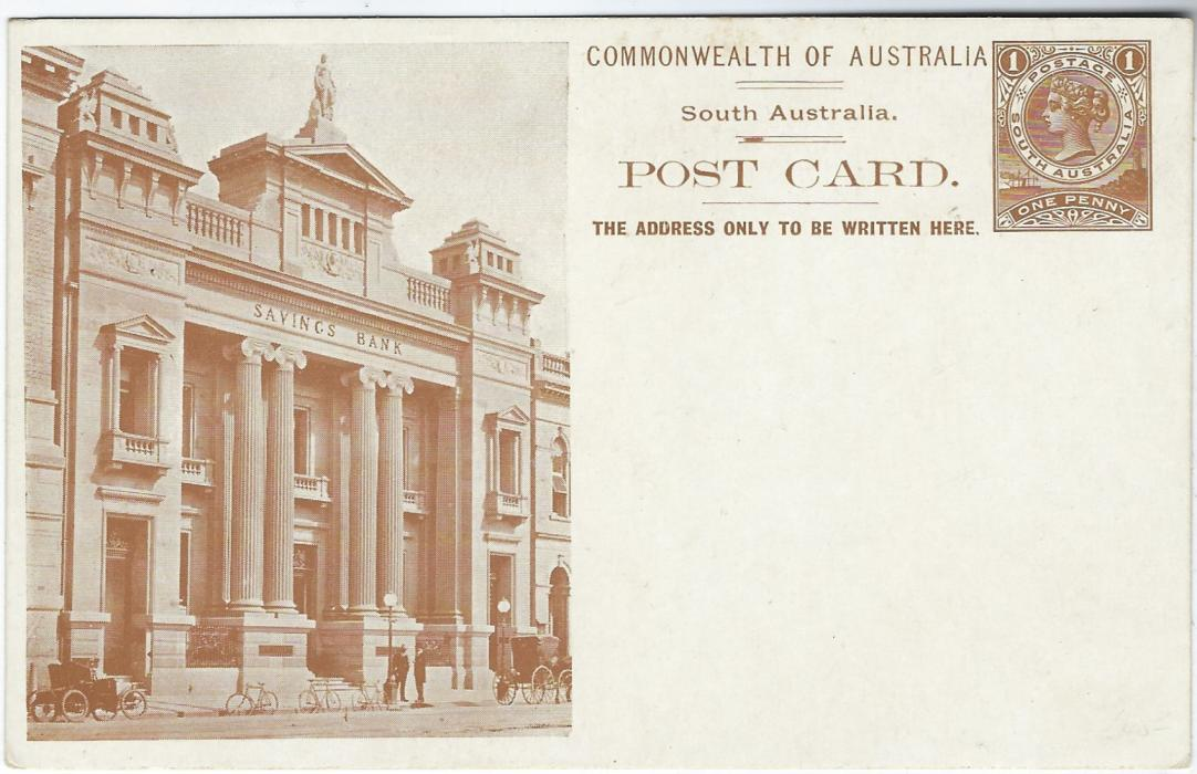 Australia (South – Picture Stationery) 1900s 1d. brown stationery card with illustration of Savings Bank showing clear images of three bicycles.