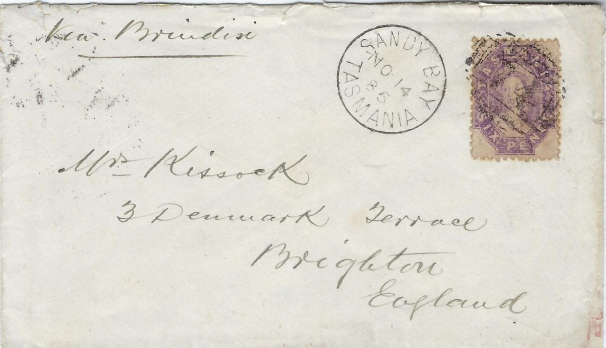 "Australia (Tasmania) 1885 (NO 14) cover to Brighton, endorsed ""Via Brindisi"", bearing single franking 1871-91 double-lined numeral watermark, perforated 6d. tied '74' numeral obliterator with Sandy Bay cds in association, reverse with Hobert transit and arrival cds."