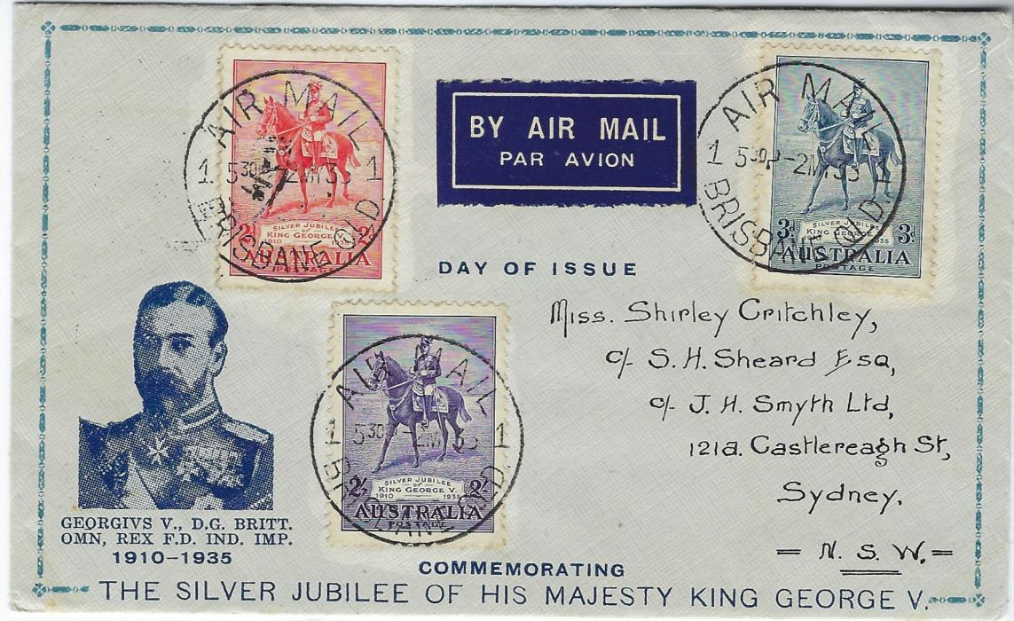 Australia 1935 Silver Jubilee illustrated first day cover bearing set of three tied Air Mail Brisbane cds; fine and clean condition.