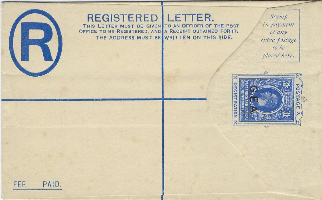 Tanganyika 1917 G.E.A. overprinted 31c. registration envelope overprinted SPECIMEN on reverse. With wrap-around band for 12 envelopes, size F, this with slight staining but a rare survivor.