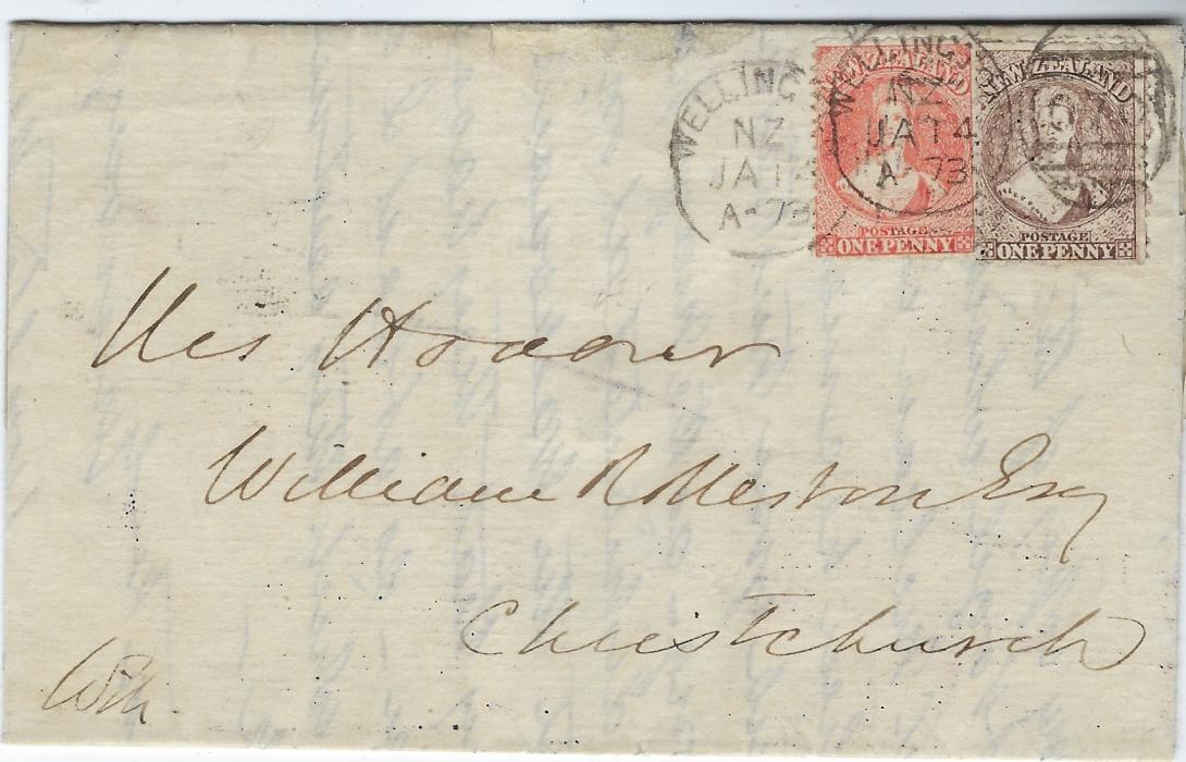 New Zealand 1873 (JA 14) entire to  Christchurch franked 1864-71 1d. pale orange-vermilion and 1871-73 1d. brown from a worn plate tied two Wellington  duplex, arrival backstamp, stamps with usual variable perfs but still attractive example of different colour, same denomination cover.