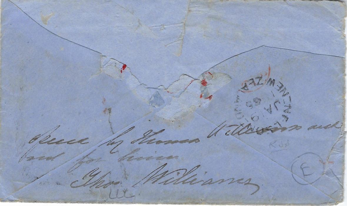 New Zealand 1864 incoming cover to Nelson from Horsham, Great Britain franked 1862-64 6d. lilc, plate 4, GG, tied duplex of MR 17, arrival backstamp of JA 9 65, front bears framed UNCLAIMED  with further Nelson cds of JY 31, redirected to Collingwood with JY 14 cds; damaged at back.