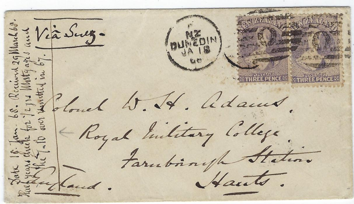 New Zealand 1868 (JA 18) cover to Royal Military College, Farnborough Station, Hants, England franked two 1864-71, Wmk Large Star 3d. lilac tied by Dunedin duplex, arrival backstamp of MR 29.