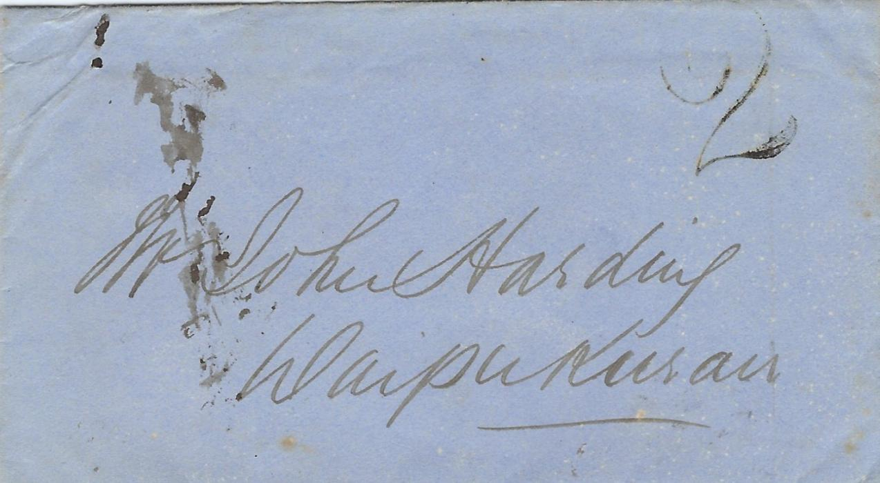 New Zealand 1861 stampless cover with contents, datelined Napier 30 May 1861 to Waipukurai bearing handstamped '2', arrival backstamp of JU 3
