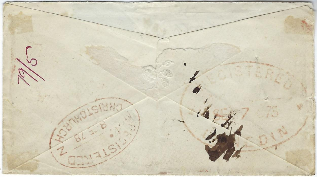 "New Zealand 1878 (AU 2) registered cover to Waddington Post Office, Canterbury, New Zealand franked 1858-79 2d., PH, unclear plate (damage to top right corner) and 1876 8d., MC, with heavy obliterators, Registered Lombard St. cds, large oval Registered Dunedin SE 7 78 arrival date stamp, Registered Christchurch alongside, the obverse bears manuscript ""Unclaimed"" and ""No Contents of Value"", the front also with Christchurch cds of 9 JA 79. Also with Post Office workshop proof with manuscript notes."