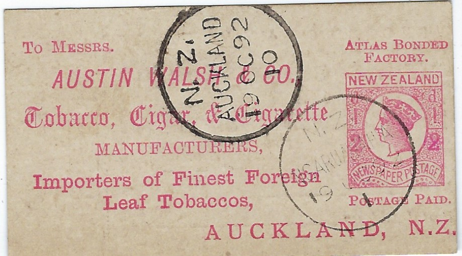 New Zealand 1892 (19 OC) small ½d.  Tobacco, Cigar & Cigarette company voting card for the Atlas Cigarette, from  Ngaruawahia to Auckland.