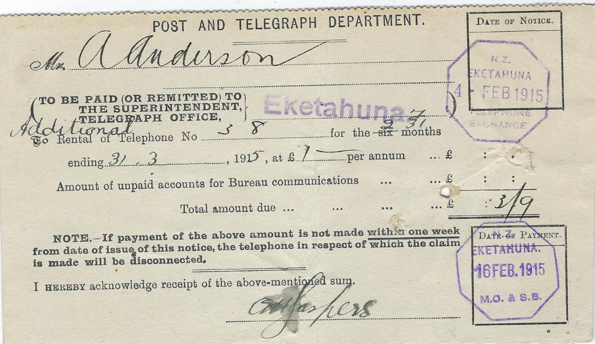 New Zealand 1915 (4.Feb) Post and Telegraph Department receipt for telephone rental at Ekethauna with O.H.M.S. on front and short address; central crease and filing holes.