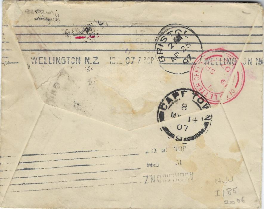 Great Britain 1907 (AP 24) cover addressed to a passenger on S.S. Rimutaka, Cape Town/ London to New Zealand franked pair 1d. KEVII tied Frome cds, Bristol transit on reverse of next day and Cape Town arrival of MY 14, missing the ship and forwarded  to Lyttleton, Wellington with Cape Town P.B.S. cds of MY 14, Lyttelton arrival on 9 SP, octagonal Christchurch Unclaimed and two-line handstamp ADVERTISED/ UNCLAIMED. Vertical filing crease.