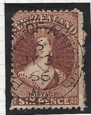 New Zealand 1864-71 Wmk Large Star 6d. brown bearing a good example the rare Province of Auckland 6 cds. This cancel was used at the time of the Waikato War, July, 1863 – May 1865 and as a relief during 1866. Only three copies of the numeral 6 cancellation are known and July 3, 1866 is the latest date recorded.
