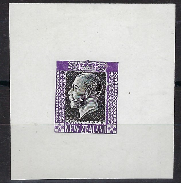 New Zealand 1912 King George V undenominated Die Proof in violet with a black centre from the Subsidiary Die, on glazed card. Ex Gordon Darge and Gawaine Baillie