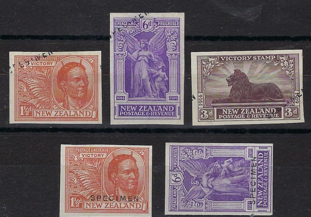 New Zealand 1920 Victory Stamp proofs selection with imperf plate proofs 1d. deep magenta and 1½d. pale sage-green, sepia and violet, 1½d. sage-green block of 4 Ex Gawaine Baillie, three imperf 1d. colour trials imperf in different colours (Only perforated colour trials are listed) and group of imperf stamps in issued colours overprinted specimen in full horizontally or part diagonally. A fine assembly.