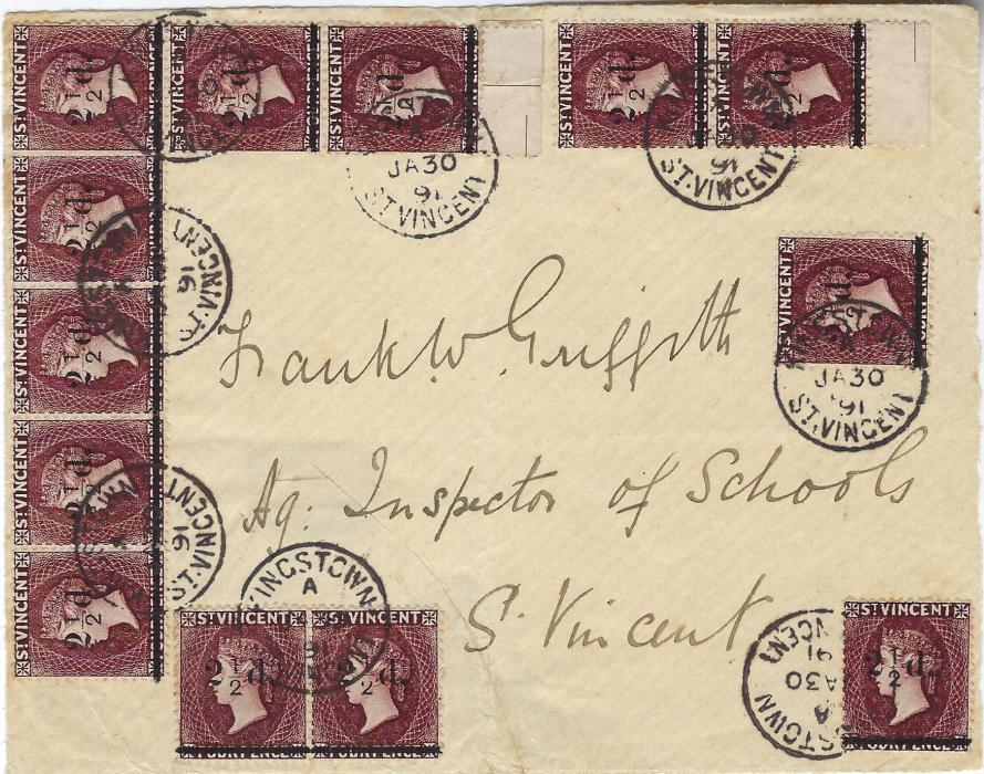 Saint Vincent 1891 (JA 30) cover front only addressed to Inspector of Schools and franked 1890 2½d. on 4d., thirteen examples including a horizontal strip of five, the right hand stamp showing variety 'no fraction bar'. Extremely rare, ex Burrus.