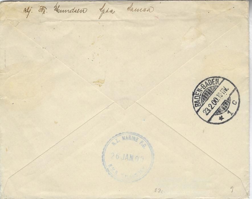Samoa 1900 (JA 26) cover to Baden-Baden, Germany franked 1896 2½d. black King (2), 1899 ½d. green Palm Trees and 1899-1900 'Provisional Government' 2d. tied Apia cds showing inverted year slug, reverse with N.Z. Marine P.O.  R.M.S. Alameda date stamp of 26 JAN and arrival cds of 23.2.; some toning around stamps.