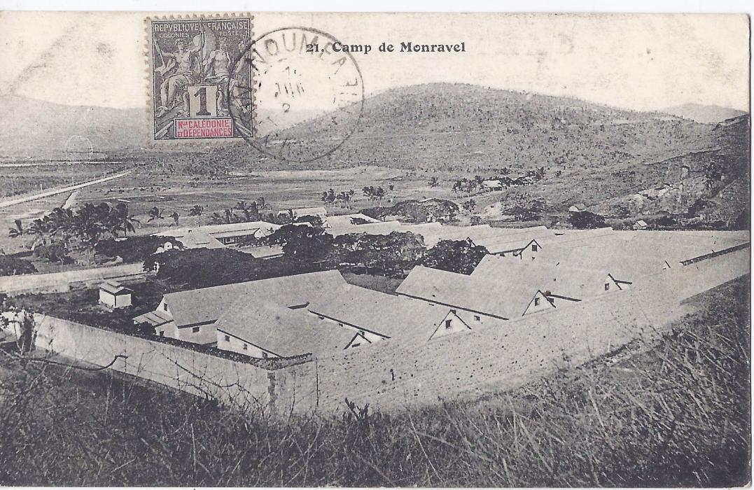 New Caledonia early 1900s card Camp de Menreval stamped on front, not sent