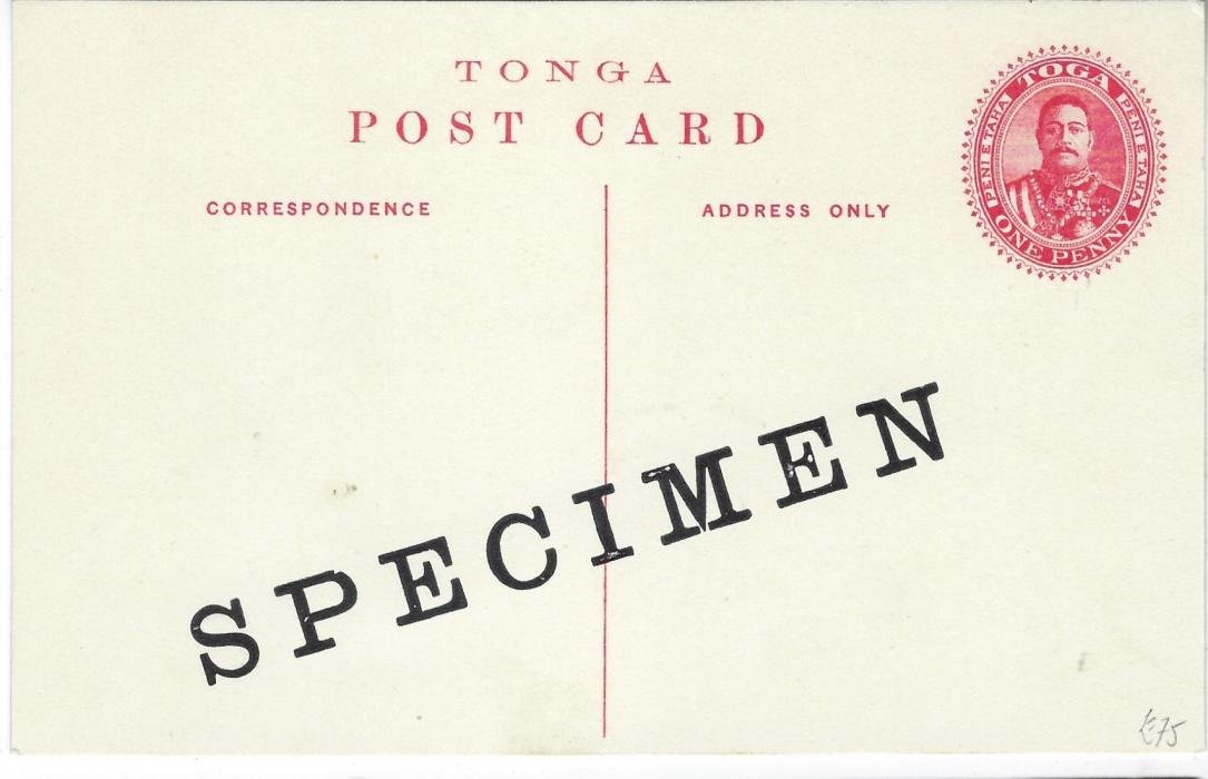 Tonga (Picture Postal Stationery) 1911 1d. card with black image 'Vavau Harbour' overprinted diagonally SPECIMEN; fine condition.