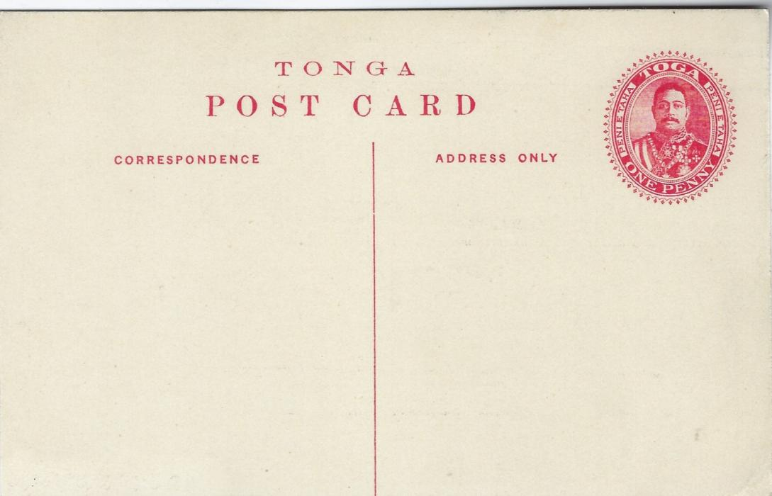 Tonga (Picture Postal Stationery) 1911 1d. card with black image 'Flying Foxes, Hihifo' fine unused, a scarce card.