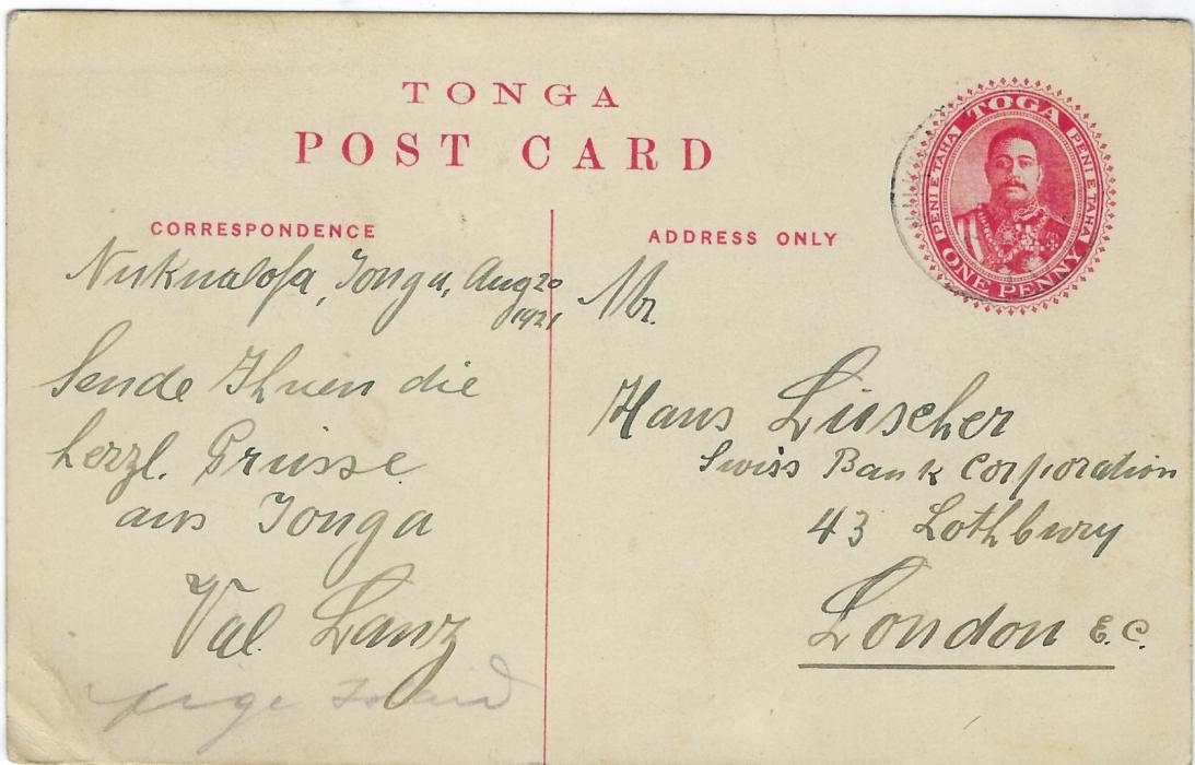 Tonga (Picture Postal Stationery) 1911 1d. card with black image 'Flying Foxes, Hihifo' used to London from Nukualofa; some light overall toning and bottom corner crease; rare used
