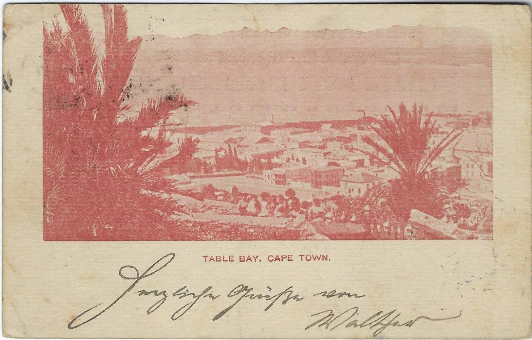 Cape of Good Hope (Picture Postal Stationery) 1899 ONE PENNY overprinted card entitled 'Table Bay, Cape Town' in red-brown used to Germany; slight toning mainly on reverse.