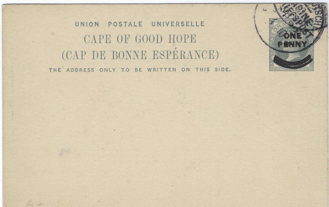Cape of Good Hope (Picture Postal Stationery) 1899 ONE PENNY overprinted card entitled 'House of Assembly, Cape Town' in deep blue cto used with Deutsche Marine Schiffspost cancel.