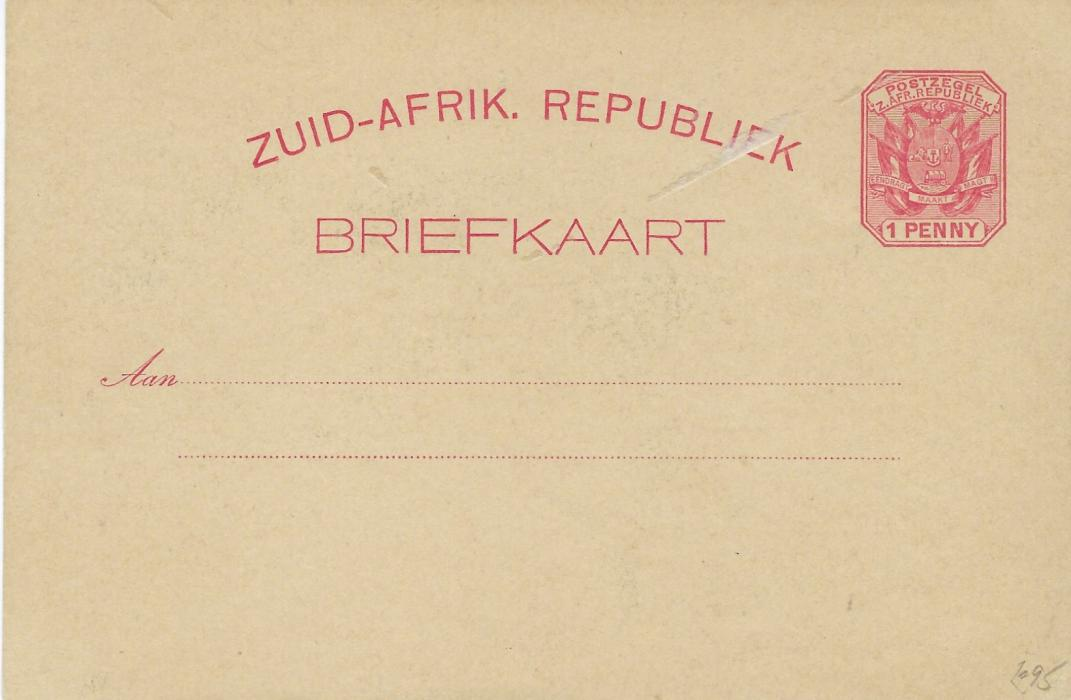 Transvaal (Picture Postal Stationery) 1897 1 Penny rose-carmine card entitled Greeting from Johannesburg/ Transvaal bearing four small images including Cattle Market, Rissik Street, Law Courts and The Wanderers; fine unused