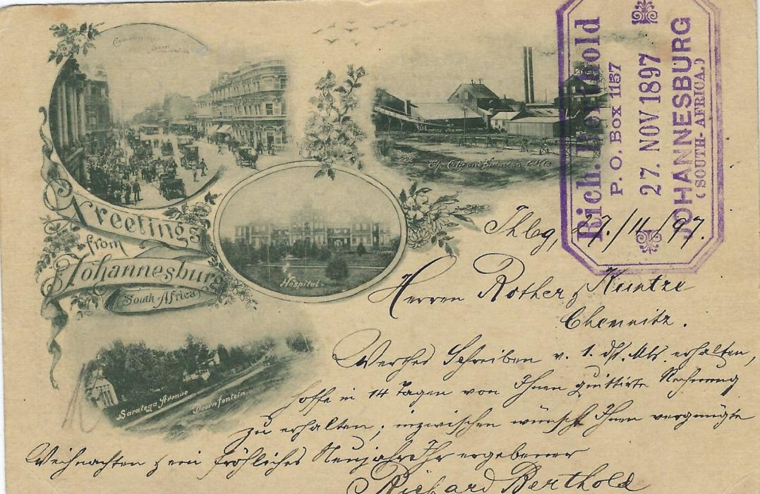 Transvaal (Picture Postal Stationery) 1897 1 Penny rose-carmine card entitled Greeting from/ Johannesburg / South Africa bearing four small images of Saratoga Avenue/ Doornfontein, Commissioner Street, Hospital and Mine, used to Germany.