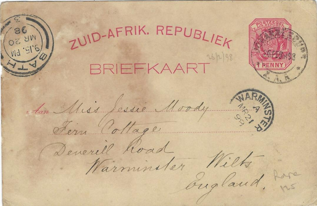 Transvaal (Picture Postal Stationery) 1897 1 Penny rose-carmine card entitled Greetings/ from Johannesburg/ South Africa  bearing four small images with Cyanide Works, Between the Chains,  Joubert's Park and Market Square; slight toning on reverse, used to Warminster, Wilts with Bath transit and arrival; some staining.