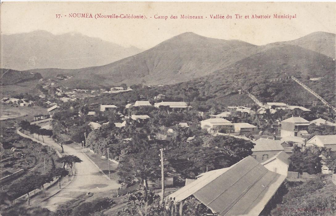 New Caledonia early 1900s card entitled Camp de Moineaux - Vallee du Tir et Abattoir Municipal good unused