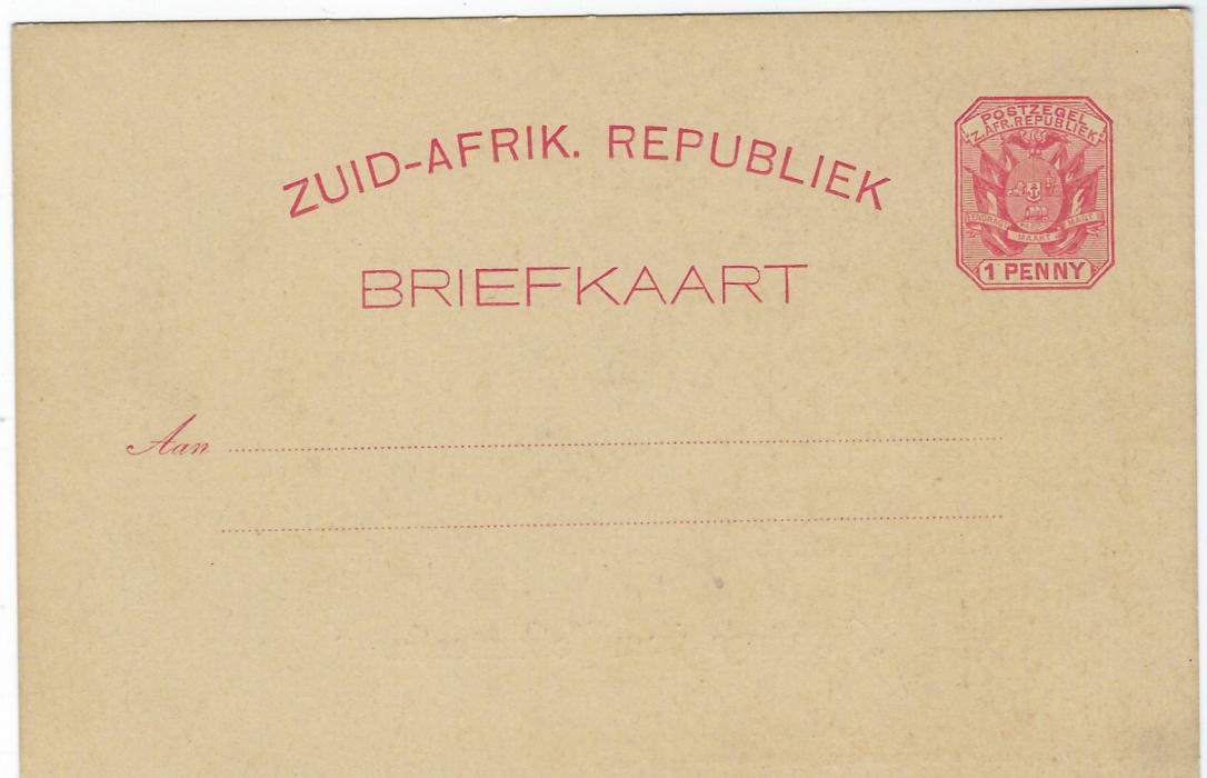 Transvaal (Picture Postal Stationery) 1897 1 Penny rose-carmine card entitled Greetings from Johannesburg with tinted image of Street Scene; fine unused.