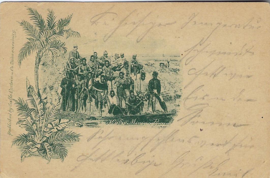 Transvaal (Picture Postal Stationery) 1897 1 Penny rose-carmine card with single image entitled Kafir Mining Boys, used from Johannesburg to Troppau, Austria.