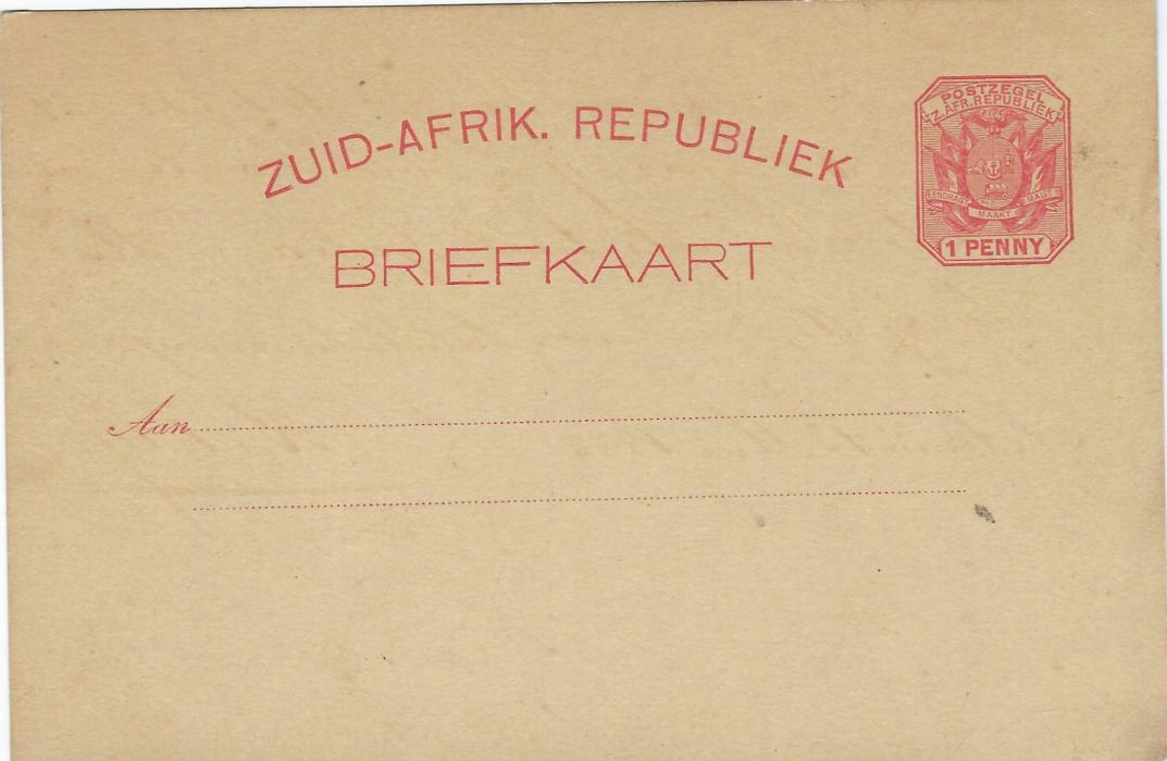 Transvaal (Picture Postal Stationery) 1897 1 Penny rose-carmine card entitled Greetings from Johannesburg/ Transvaal bearing single image entitled 'Zulu Warriors'; some toning