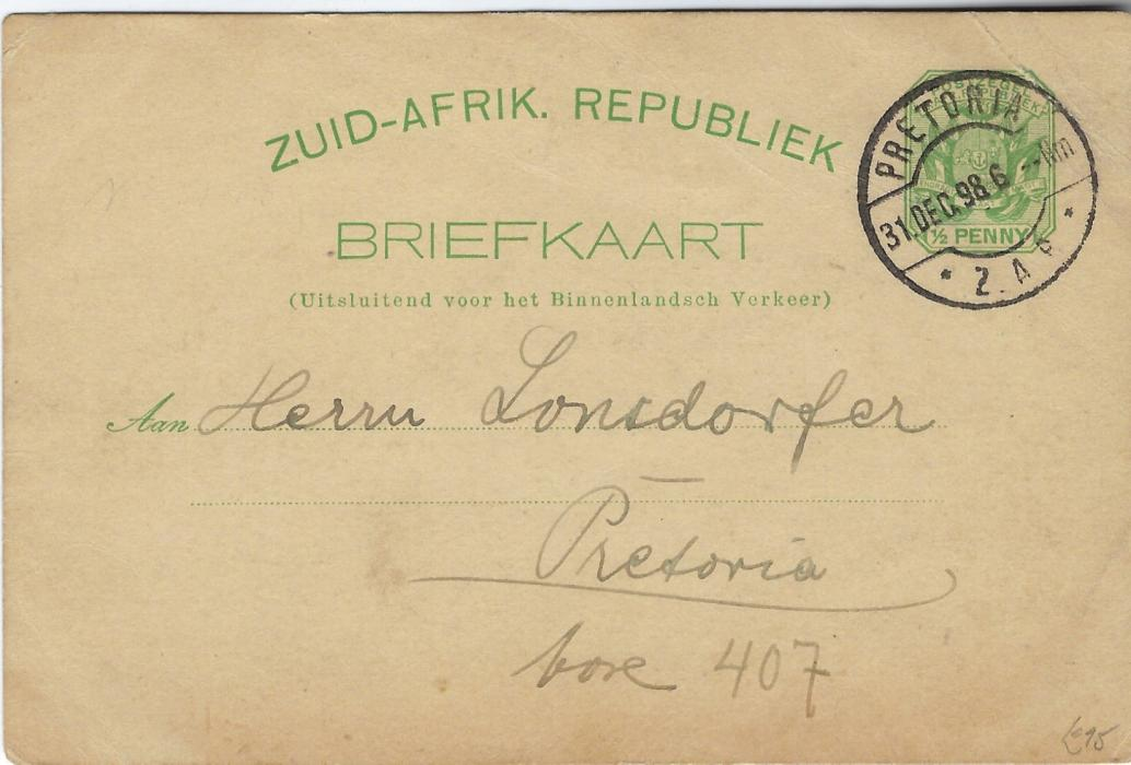 Transvaal (Picture Postal Stationery) 1898 (31.12.) ½ Penny green card  with blue unidentified image (but believed to be the premises of the German Consulate in Pretoria) used within Pretoria with New Year message.